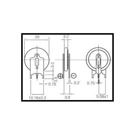cr2032-sdn3 3.0V (cena za 1 ks) 2x1 svisle rozteč 10.2mm