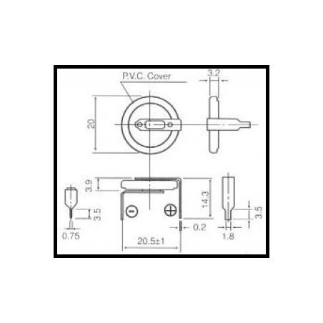 cr2032-vby2 3.0V (cena za 1 ks) 1x1 vodorovně rozteč 20.5mm